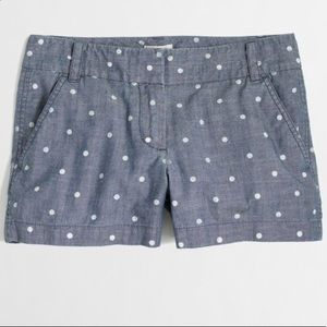 Jcrew Chambray Polka Dot Shorts Size 0